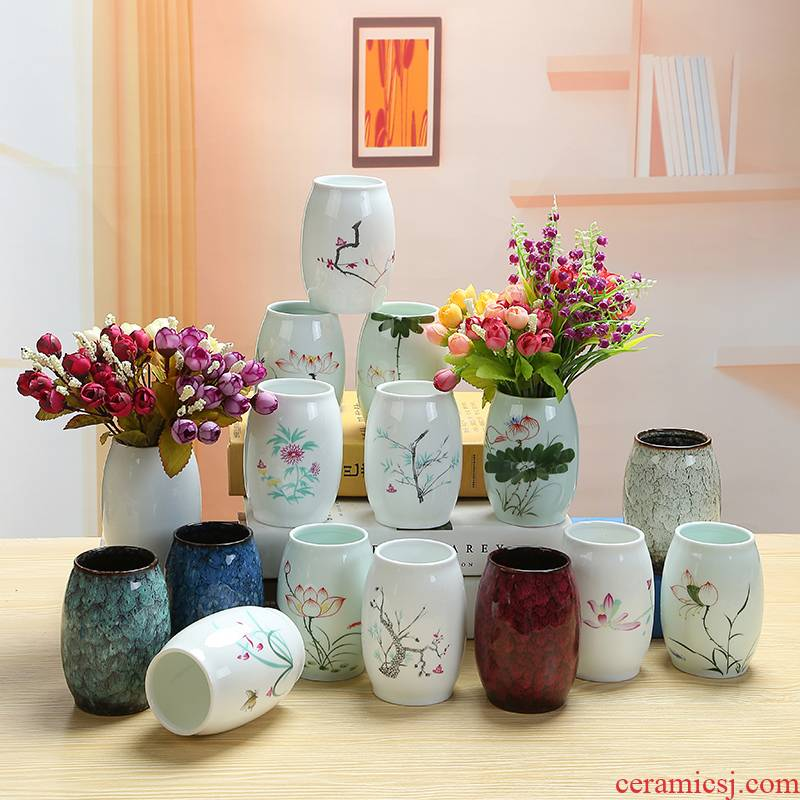 White porcelain and fresh water have no hole, copper money plant grass flower POTS all over the sky star, dry flower vases, ceramic flower implement furnishing articles in the living room
