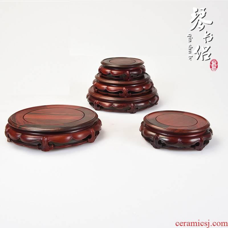 Red rosewood carving of Buddha lotus jade it base technology base solid wood vases, base rounded