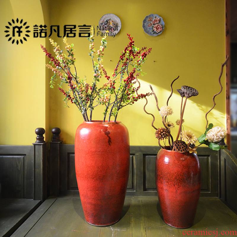 Jingdezhen ceramic vase color glaze up landing modern European furnishing articles sitting room hotel villa decoration is red