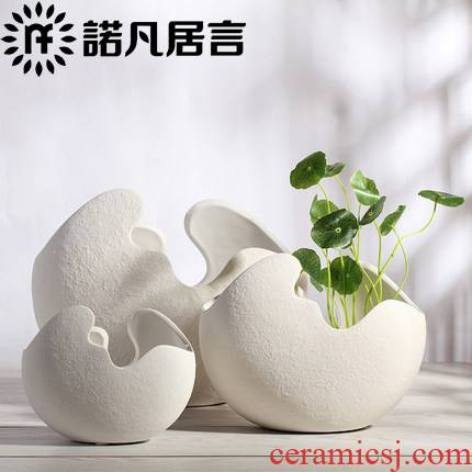 Modern creative furnishing articles study fashion contracted sitting room white ceramic shell hydroponic vase household ornaments