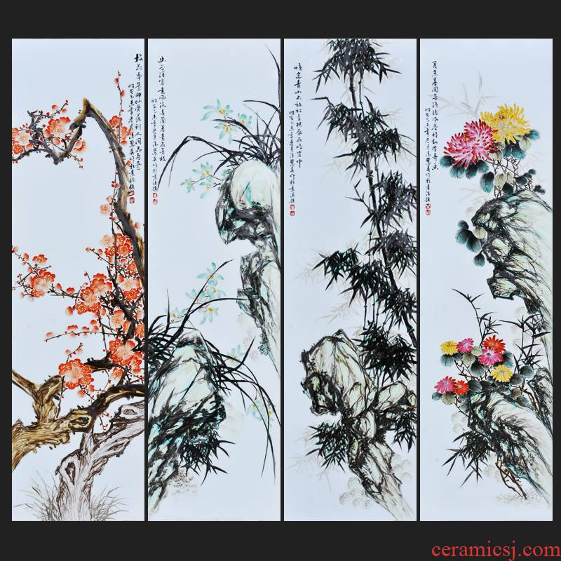 Jingdezhen ceramics Feng Huiying hand - made by patterns of four screen porcelain plate painting the sitting room adornment household furnishing articles