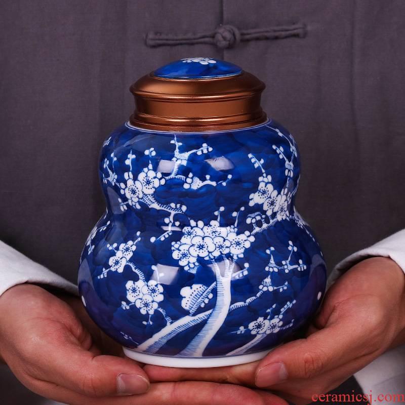 Jingdezhen ceramic tea pot small portable sealed porcelain POTS caddy fixings household storage tanks
