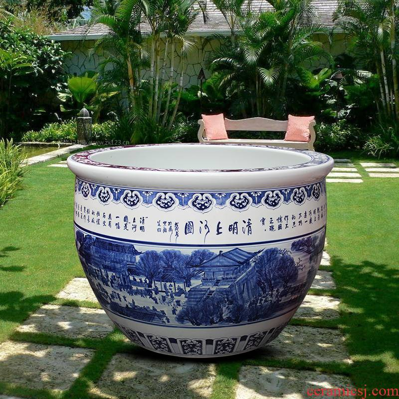 Blue and white porcelain tank 1 meter big basin of water tanks porcelain jar water lily lotus bowl lotus cylinder cylinder tortoise courtyard