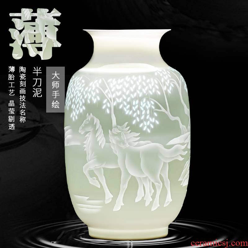Jingdezhen ceramics famous hand - made vases, flower arranging furnishing articles success archaize rich ancient frame sitting room adornment