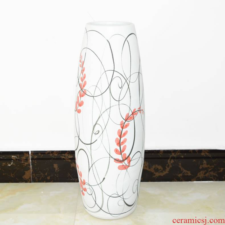 Jingdezhen ceramics straight tall vase contracted sitting room ground dried flowers flower arrangement home furnishing articles