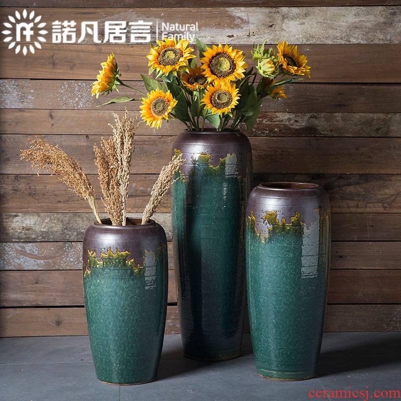 景德镇陶瓷大花瓶摆件玄关插花干花客厅别墅摆设欧式简约创意装饰