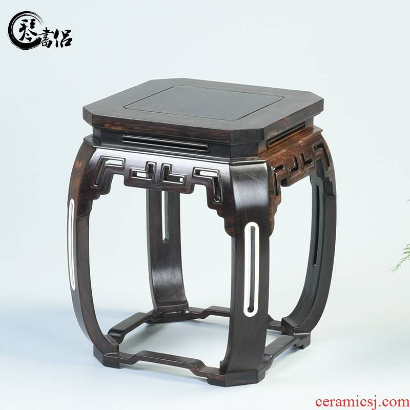 Bonsai base solid wood square purple wingceltis woodcarving handicraft antique porcelain base planter base frame
