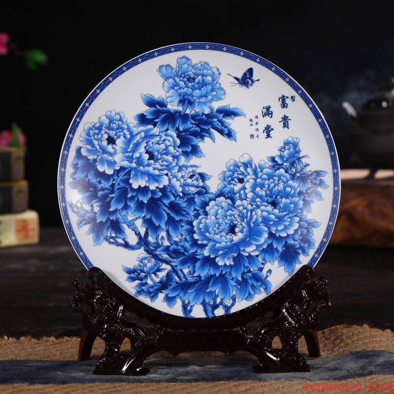 Modern Chinese jingdezhen ceramics fashion home decoration hanging dish sat dish furnishing articles home sitting room handicraft
