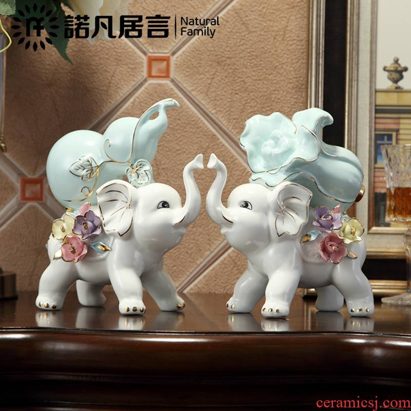 Ceramic furnishing articles sitting room decoration study European opening ornament gift auspicious feng shui elephant
