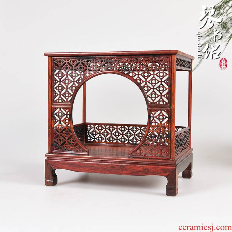 Red acid branch micro instance - bed frame imitation Ming and the qing dynasties wood real wood carving handicraft miniature jade base