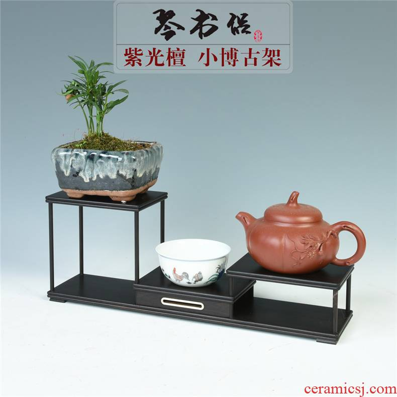 Ebony wood carving handicraft purple light tan, small rich ancient frame tea set solid wood much treasure cabinet jewelry pendulum stone base