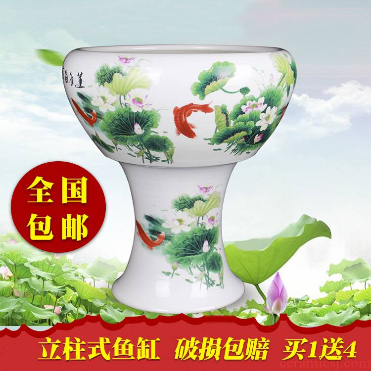 Extra large aquarium hand - made jingdezhen ceramic flower pot a goldfish bowl bowl lotus lotus lotus cylinder cylinder fall to the ground