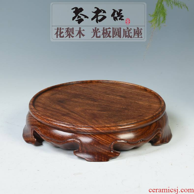 Hua limu monolith redwood base plate round solid wood antique porcelain vase base tea incense buner base
