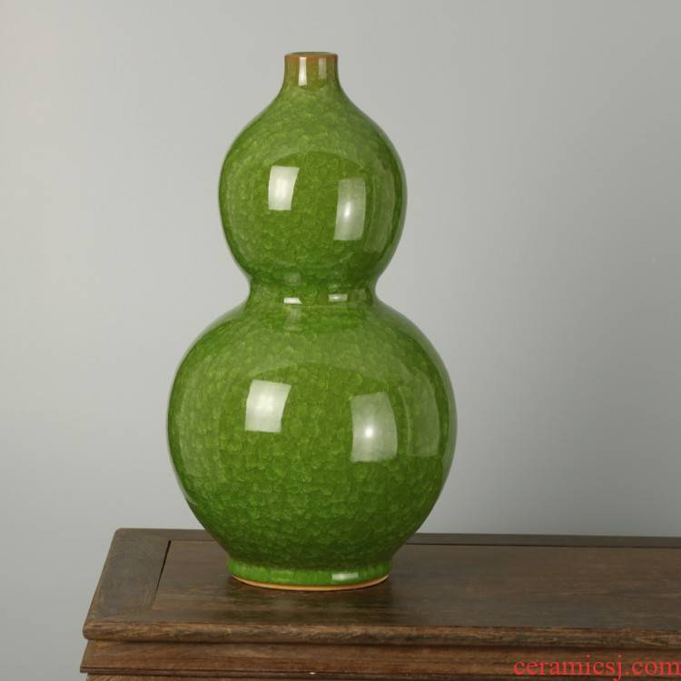 Archaize crack of jingdezhen ceramics glaze green, open ball vase decoration modern Chinese style household furnishing articles