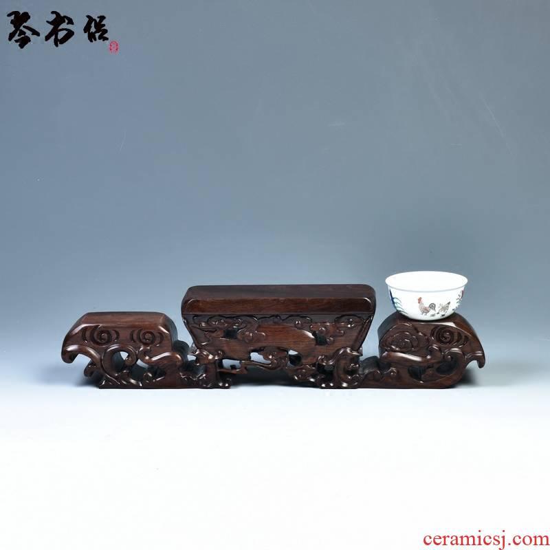 Ebony woodcarvings base it flowerpot decorative furnishing articles tea base base solid wood stone base