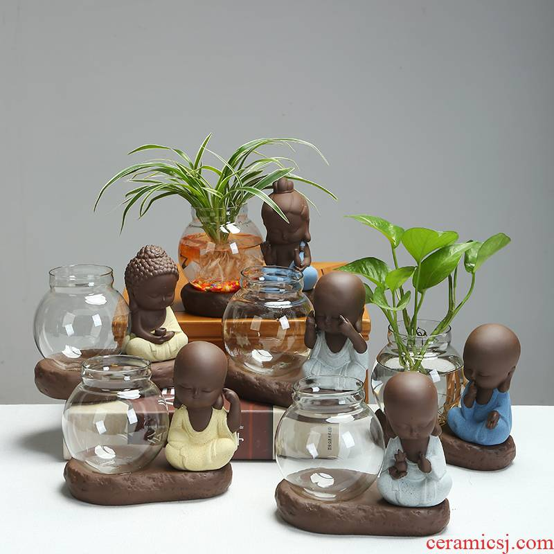 Contracted non - porous glass water raise money plant zen flowerpot ceramic bracketplant copper water raise grass flower POTS desktop furnishing articles