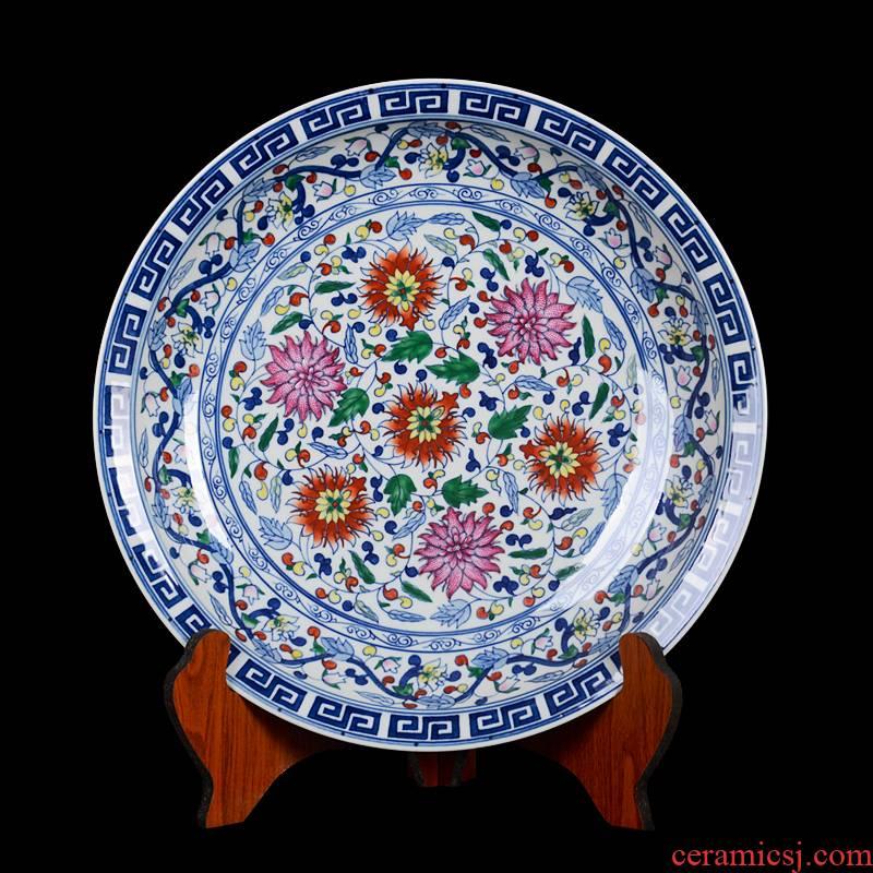 Jingdezhen ceramic decoration plate sit plate hanging dish hand - made archaize pastel blue lotus flower porcelain crafts