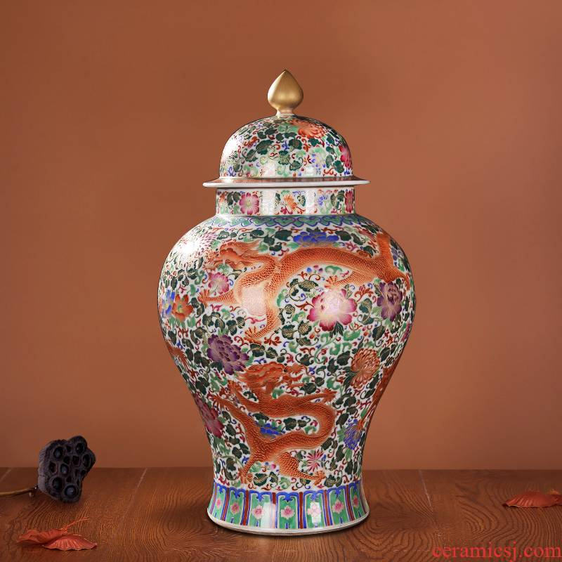 Jingdezhen ceramics high - end antique qianlong antique wire inlay wulong vase the general pot of decorative crafts