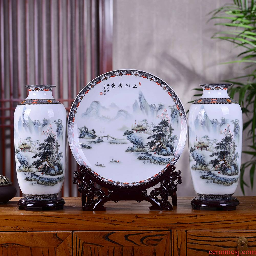 Jingdezhen ceramic vase furnishing articles mountains xiuse three - piece famille rose porcelain of modern home sitting room adornment