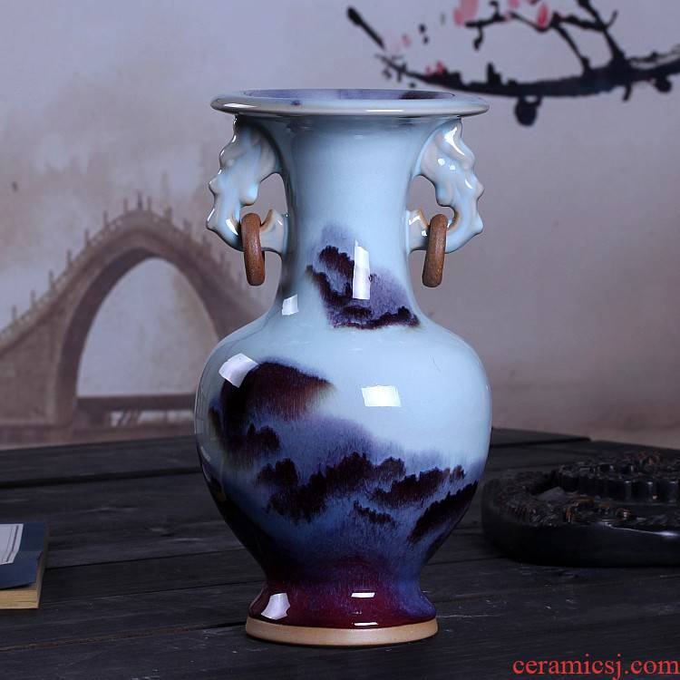 Jingdezhen ceramics up creative vase furnishing articles jun porcelain antique open piece of living room furniture decoration decoration