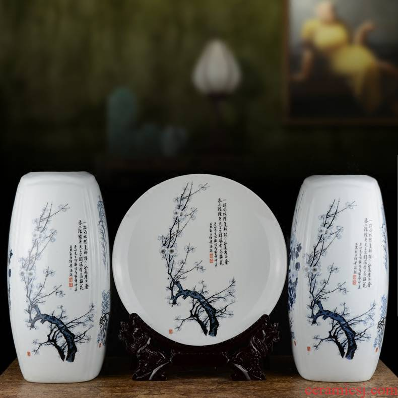 Jingdezhen ceramics vase three - piece furnishing articles sitting room of Chinese style by patterns porcelain decoration decoration plate