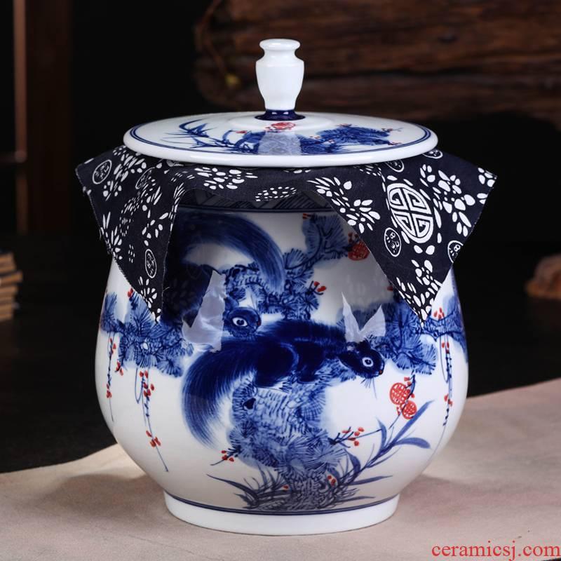 Jingdezhen ceramic hand - made porcelain squirrel seal POTS pu large tea packaging household caddy fixings