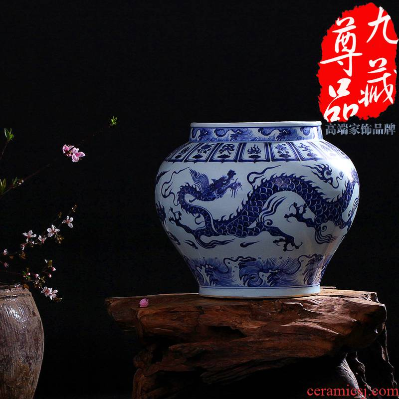 Jingdezhen ceramics imitation of yuan blue and white porcelain dragon tank vase home sitting room classic adornment handicraft furnishing articles