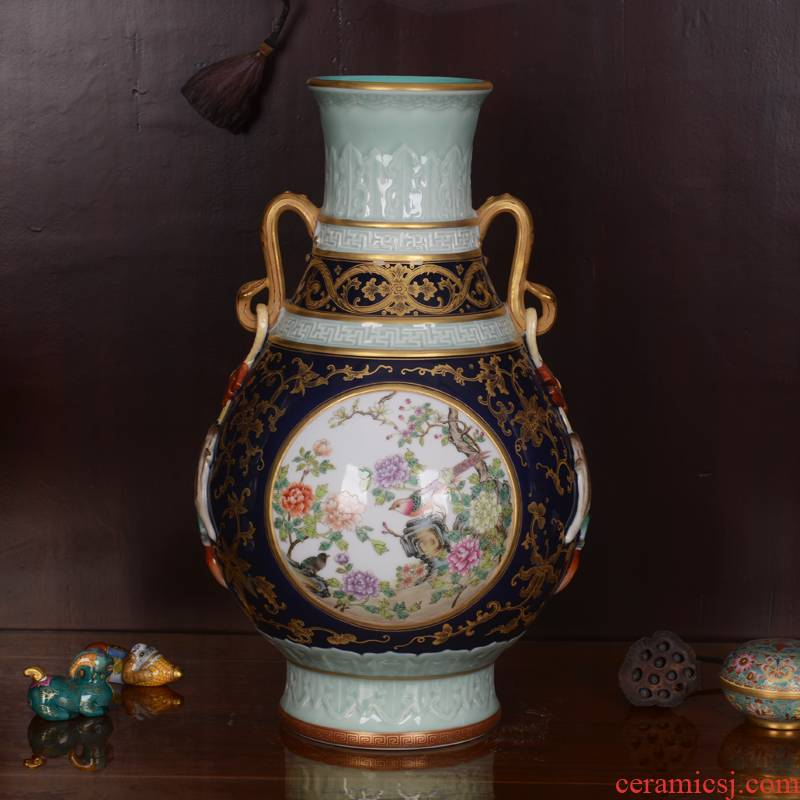 Jingdezhen ceramics high - grade shadow green edge process okho spring archaize qianlong vase household adornment furnishing articles in the living room