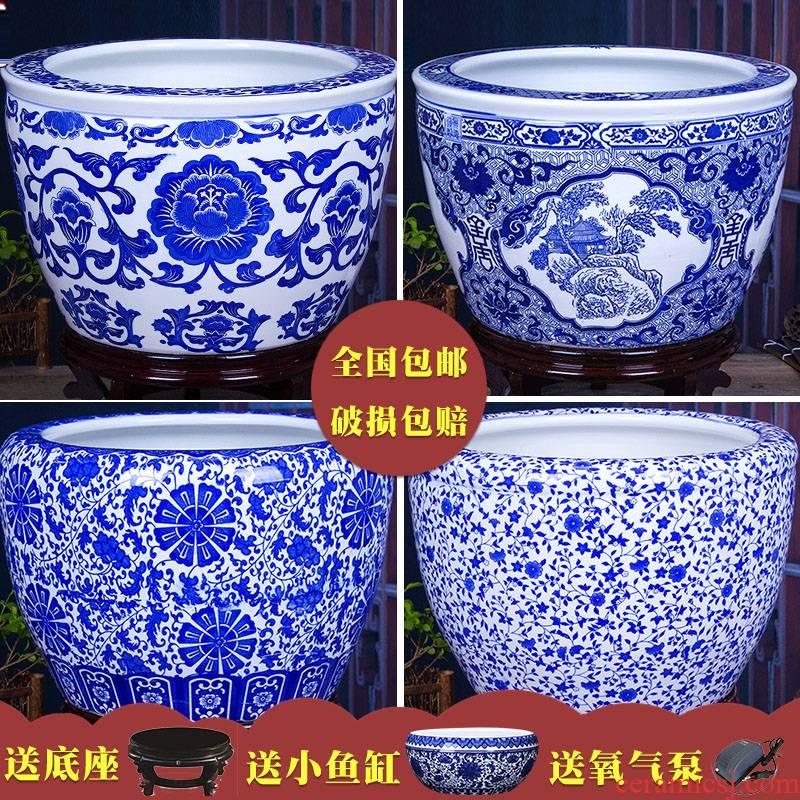Art soul jingdezhen extra large aquariums famille rose porcelain loop aerobic filter water goldfish bowl sitting room