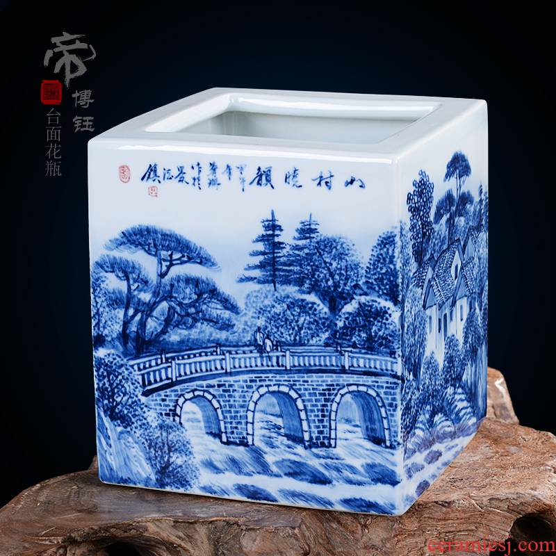 Jingdezhen ceramics famous works hand - made traditional Chinese painting landscape square vase vases, decorative arts and crafts