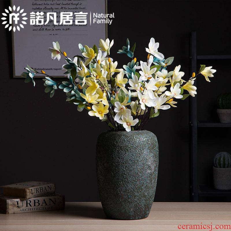 Mesa of ceramic vase furnishing articles retro coarse pottery Nordic dried flowers, flower arranging flowers, sitting room, bedroom decoration do old ideas