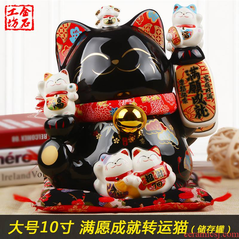 Stone workshop plutus cat large furnishing articles may achievement transfer full black ceramic creative opening gifts piggy bank