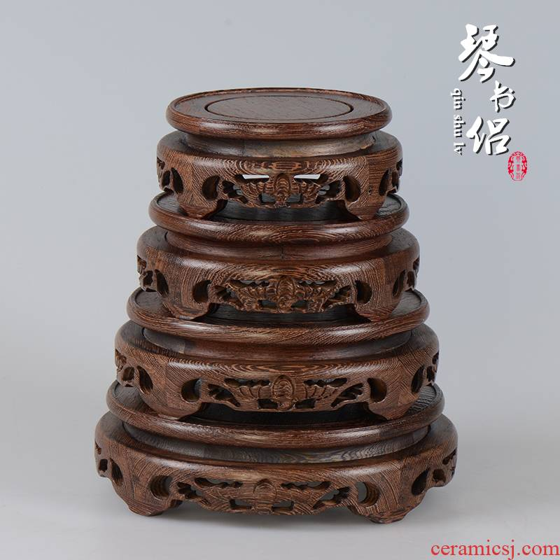 Chicken wings wood bats circular base solid wood furnishing articles base wooden shelf, vase, the teapot bonsai base