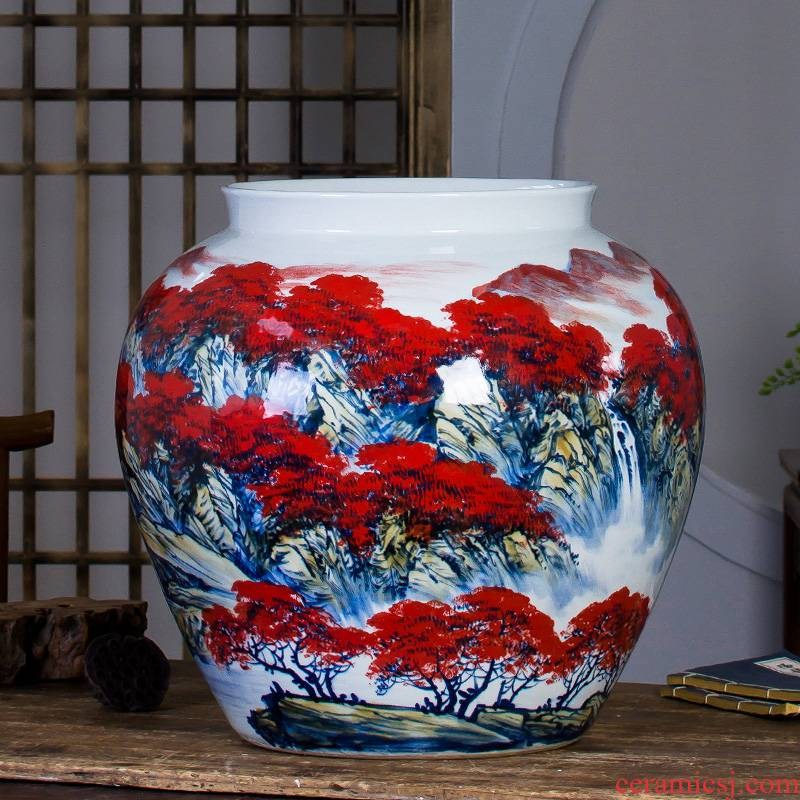 Jingdezhen ceramic powder enamel hand - made landing big vase full sitting room adornment is placed and calligraphy calligraphy and painting cylinder cylinder