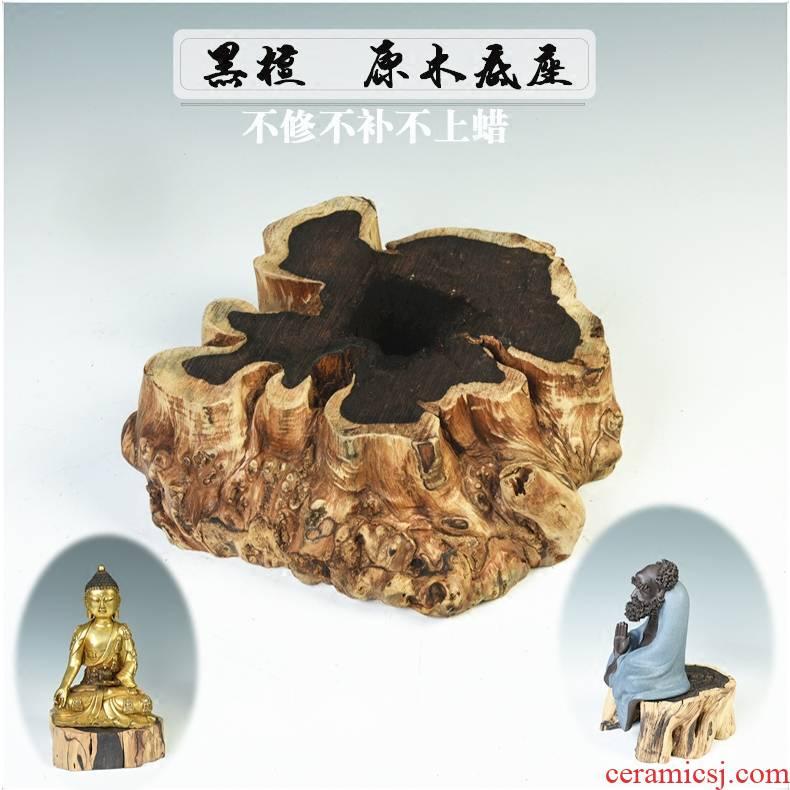 Purple wingceltis ebony the original wood real wood base with the base circle furnishing articles of Buddha stone flower pot base