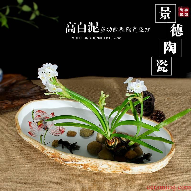 Jingdezhen ceramic art tortoise cylinder goldfish bowl hand - made lotus flower planting home furnishing articles