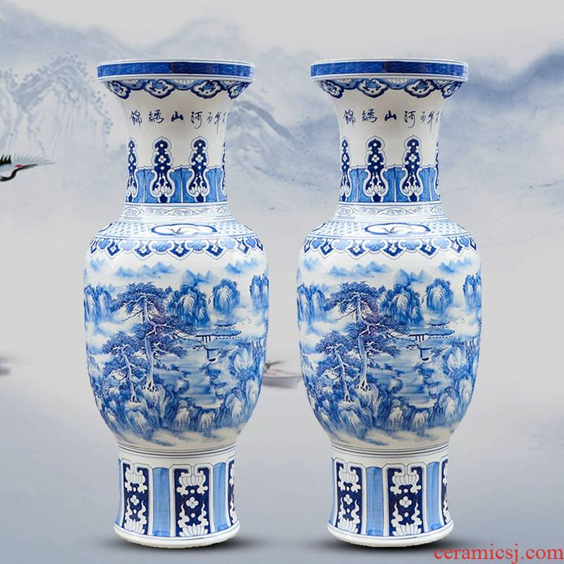 Jingdezhen ceramics hand large blue and white porcelain vase splendid furnishing articles was Chinese style living room hotel decoration