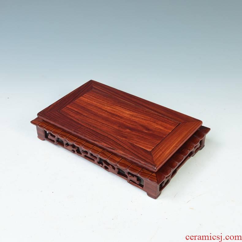 Red sandalwood wood melon leng base rectangle square base flowers miniascape base stone base furnishing articles