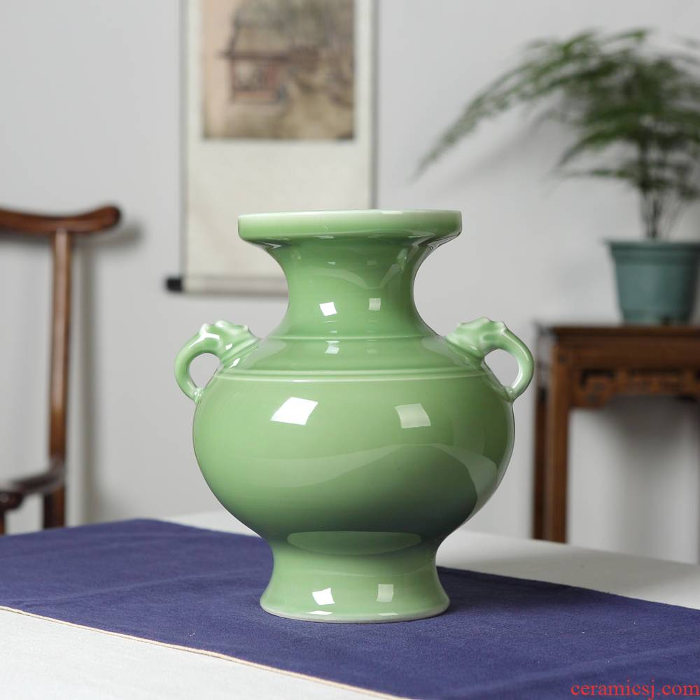 Jingdezhen ceramic furnishing articles manually shadow celadon ears flower vases, flower implement new sitting room of Chinese style household act the role ofing is tasted