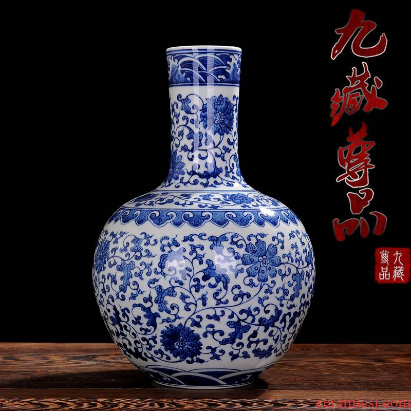 Jingdezhen ceramics bound branch lotus tree blue and white porcelain vase classical sitting room porch decorate household furnishing articles