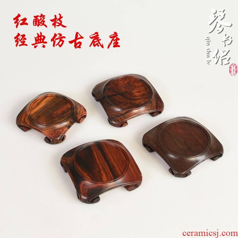 Redwood carving crafts branch antique red acid base looks solid wood antique vase it base