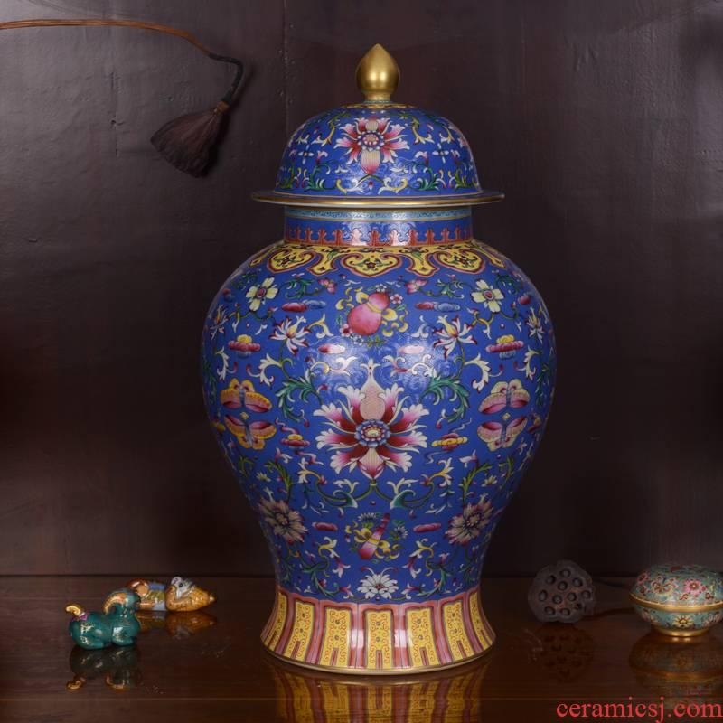 Jingdezhen ceramics antique hand - made pastel blue lotus general pot vase of classical sitting room adornment