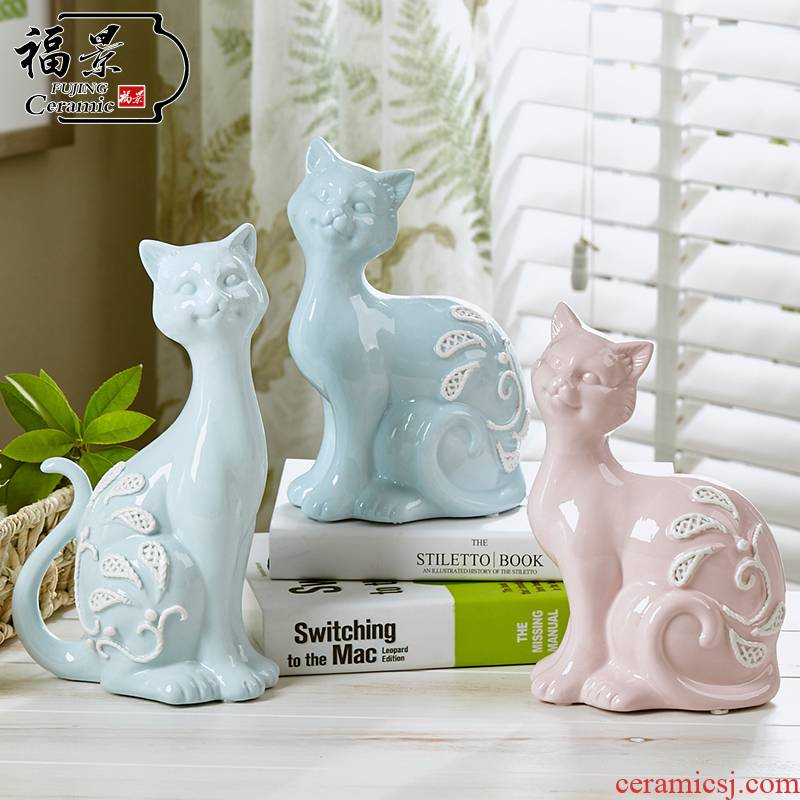 The scene creative modern Jane European pottery handicraft furnishing articles sitting room adornment ornament of cat lovers wedding gift