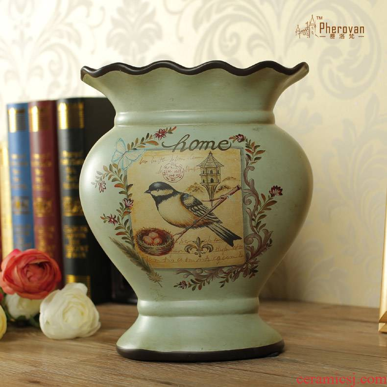 Only beautiful American country Lin silk painting of flowers and ceramic insert big vase furnishing articles Howard home sitting room home decoration