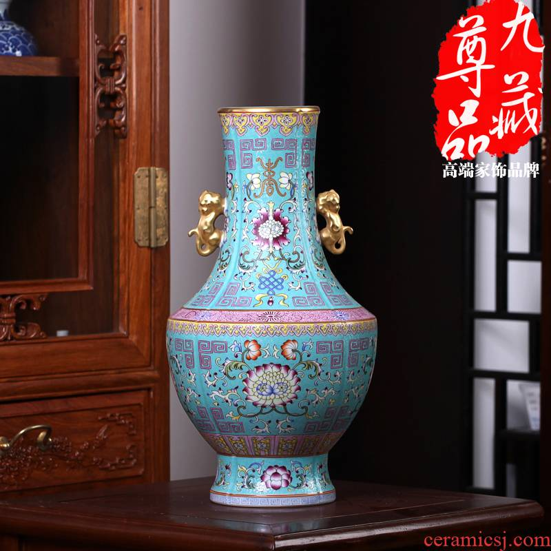 Jingdezhen ceramics imitation the qing qianlong pastel cui to tie up branch lines double lion penetration ear vase collection crafts