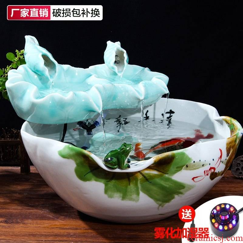Creative fountain water atomizing humidifier tank furnishing articles of jingdezhen ceramic landscape lotus sitting room furniture