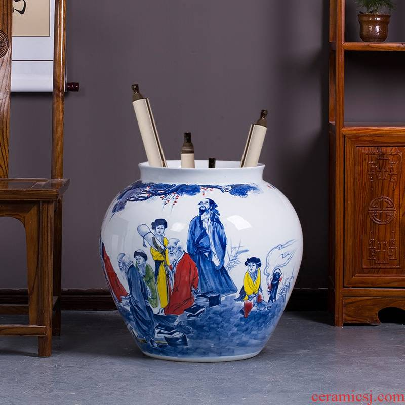 Hand - made landing pot - bellied pot vase of blue and white porcelain of jingdezhen ceramics sitting room adornment is placed on the calligraphy and painting scroll cylinder