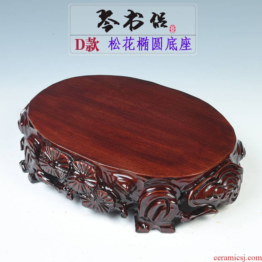 Solid wood carved stone base stone base jade penjing base Solid wood round flowers miniascape base can be excavated