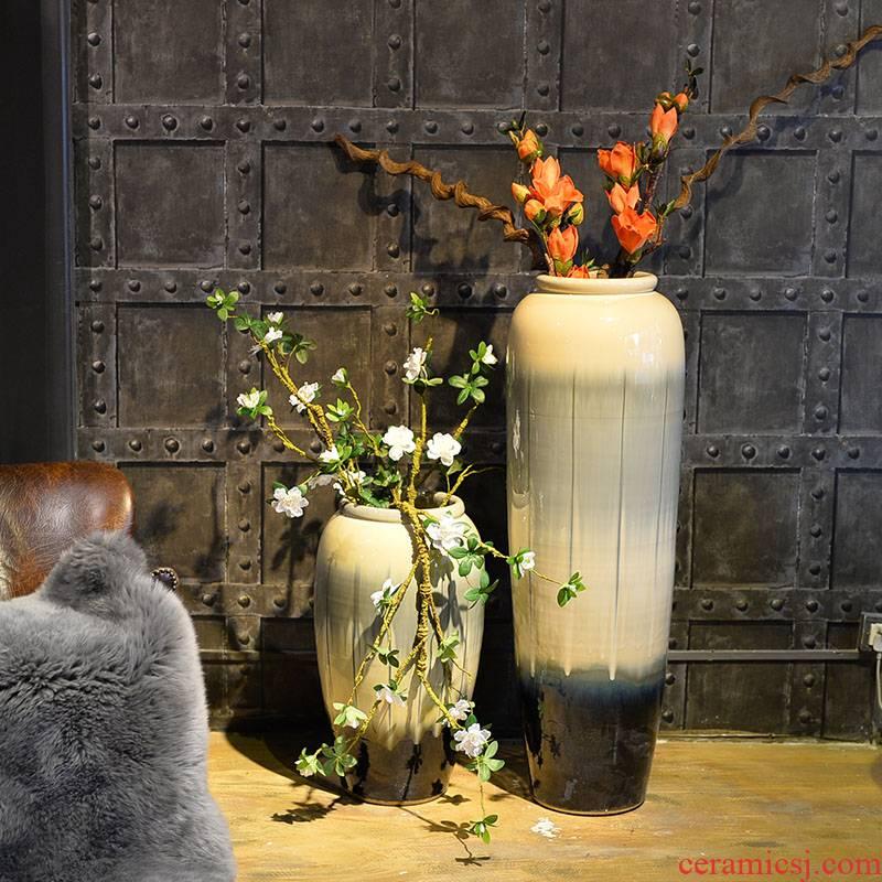 Large vases, ceramic sitting room place ou dried flower bouquet contracted color glaze porcelain decoration retro simulation