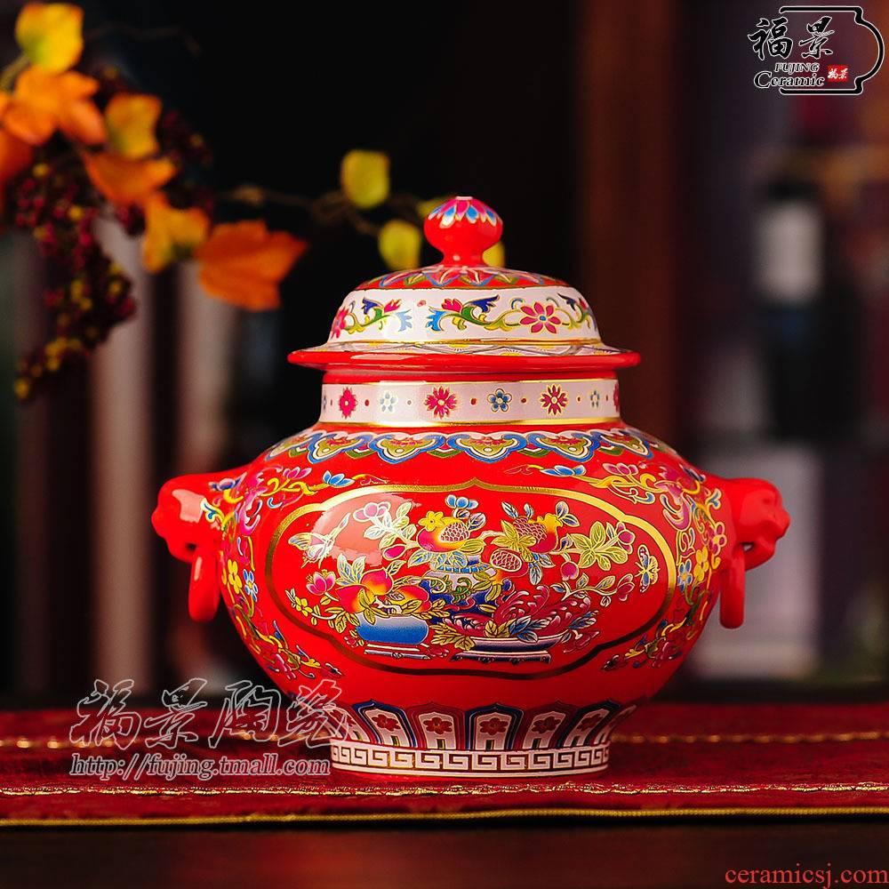 Fu jing household storage tank sitting room Chinese ceramic decoration bedroom TV ark, elegance decoration